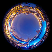 Circle panorama of modern factory skyline, such as if they were taken with a fish-eye lens