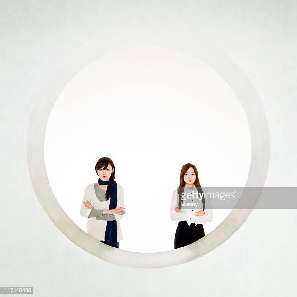 Cerchio quadrato moderno Geisha Ritratto