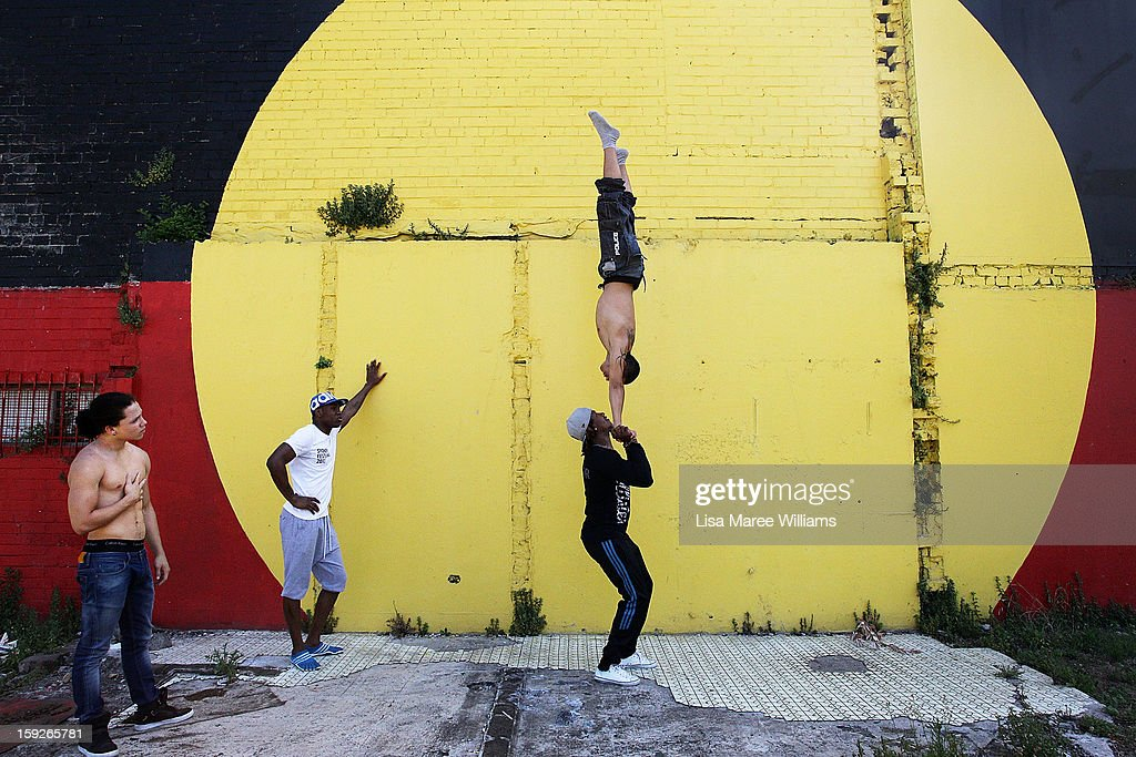 Circolombia circus performers Krespo, Yeckly, Jonathon and Lil-Louce perform some moves during a visit to the Redfern Community Centre on January 11, 2013 in Sydney, Australia. The Circolombia performers make up some of the most talented performers of Columbia's national circus school, the first school of its kind for disadvantaged youth. Circolumbia's show, URBAN, begins on January 15 at Riverside Theatre in Parramatta as part of the Sydney Festival .