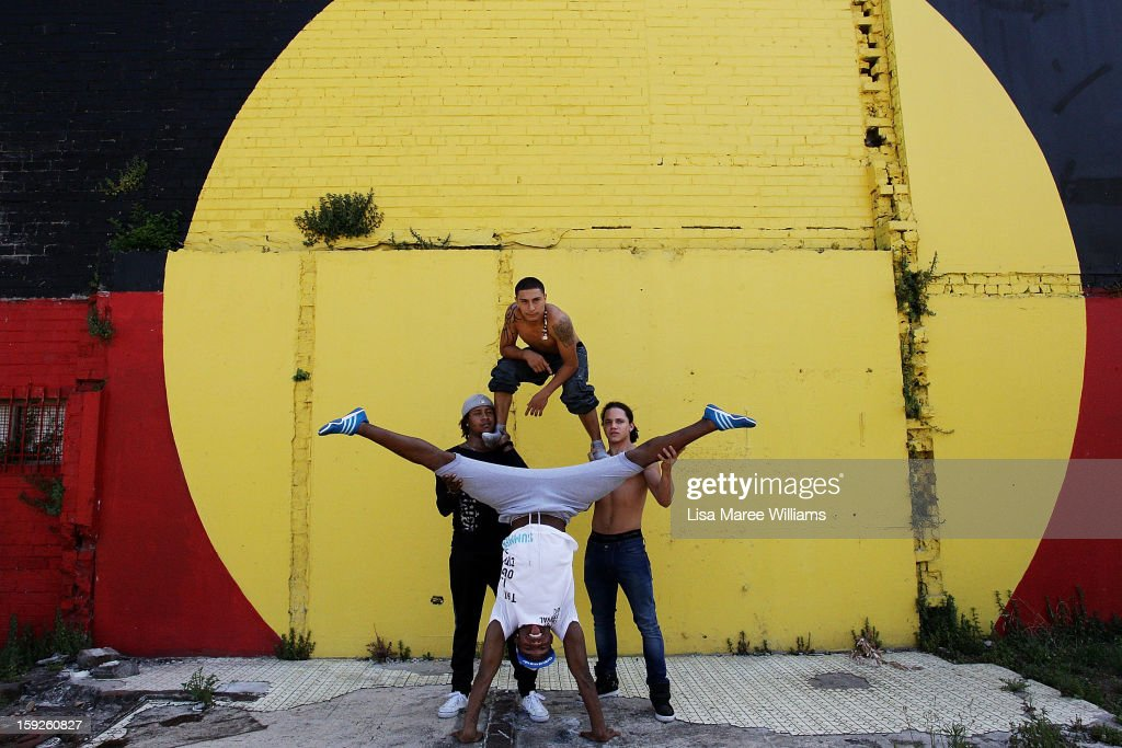 Circolombia circus performers Lil-Louce, Jonathon, Krespo and Yeckly pose during a visit to the Redfern Community Centre on January 11, 2013 in Sydney, Australia. The Circolombia performers make up some of the most talented performers of Columbia's national circus school, the first school of its kind for disadvantaged youth. Circolumbia's show, URBAN, begins on January 15 at Riverside Theatre in Paramatta as part of the Sydney Festival .