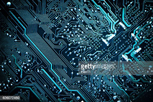 Circuit board. Electronic computer hardware technology. : Stock Photo