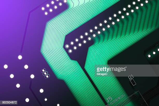 Circuit Board with Purple Color Light Glow