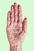 Circuitry illustrated on palm of hand