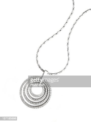 Circular diamond pendant necklace isolated on white