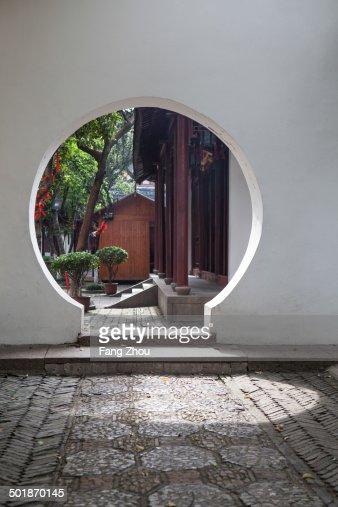 Circular entrance in garden, Suzhou, Jiangsu Province, China