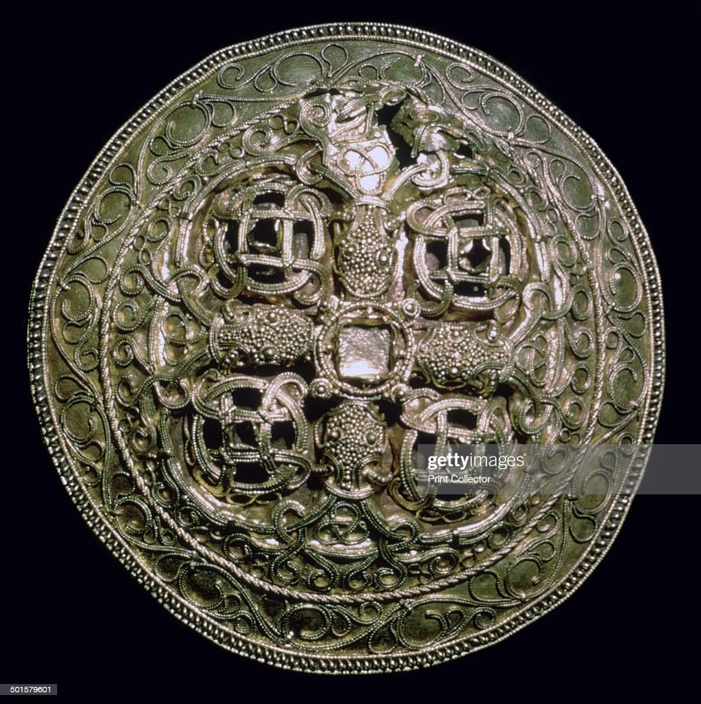 A circular golden Viking brooch from Hornelunde near Varde in Denmark From the National Museum's collection in Copenhagen 9th century