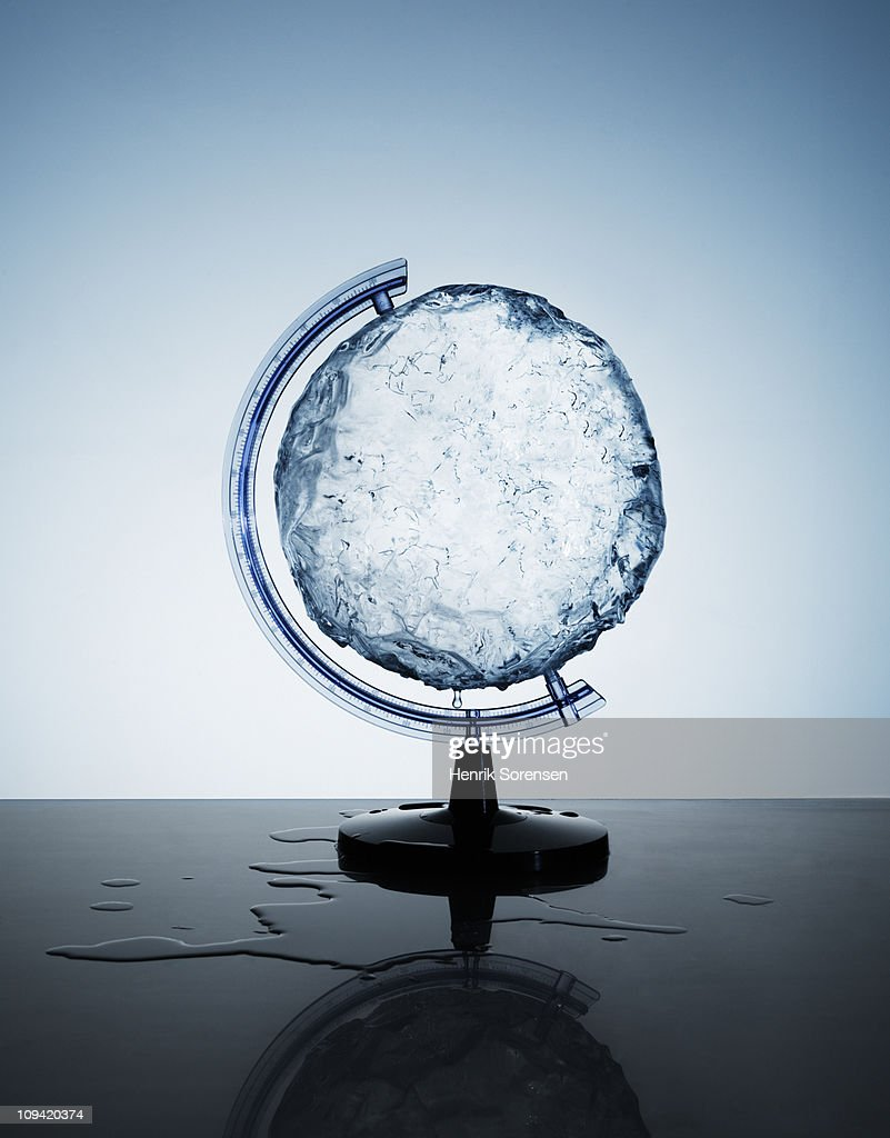 Circular ice block in a globe support holder
