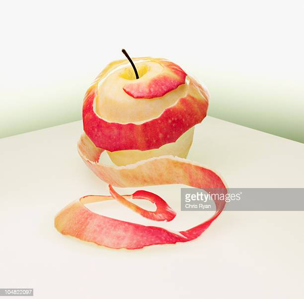 Circular peeled red apple