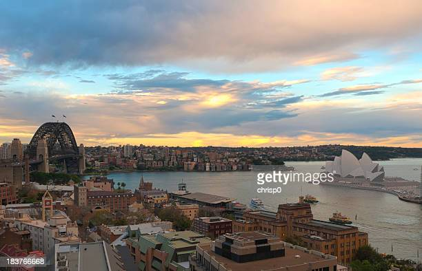 Circular Quay and Sydney Harbor From Above at Sunset