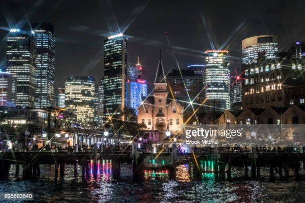 Circular Quay is lit for the Vivid Festival on June 13 2017 in Sydney Australia Vivid Sydney is an annual festival that features light sculptures and...