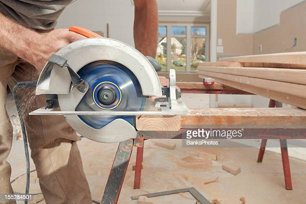Circular Saw Cuts Stud for Home Remodeling Project