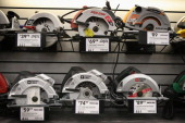 Circular saws are offered for sale at Lowe's home improvement store on January 24 2013 in Chicago Illinois Lowe's said they plan to hire 45000...