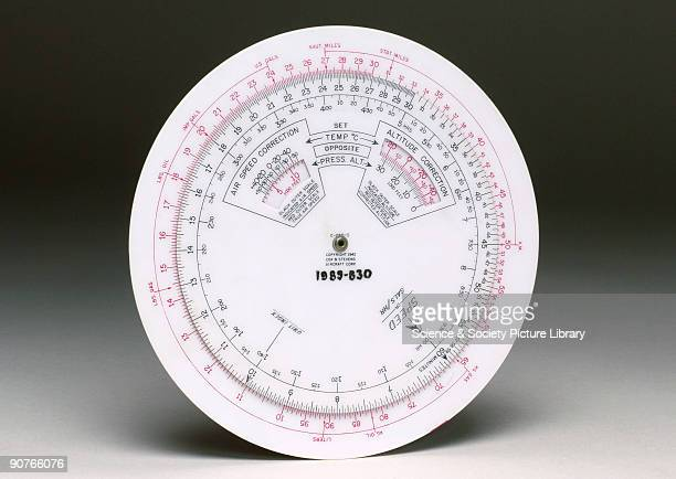 Circular slide rule used for aviation calculations relating to the Pratt Whitney S3C4G aero engine Made of plastic by Cox Stevens Aircraft...