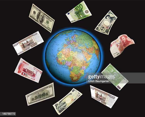 GERMANY BONN Circulation of money Euro notes dollar notes Japanese Yen notes and Chinese Yuan notes circle the globe