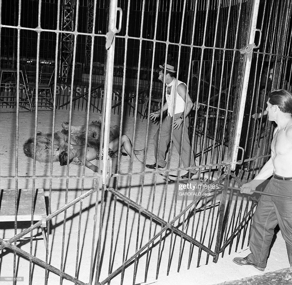 Circus Achille Zavatta. La troupe d'Achille ZAVATTA lors d'une tournée : le 17 juillet 1953, au cour d'une représentation du Super-Circus, à Angoulême, il rentre dans la cage aux lions pour sauver le dompteur Maurice FROMENT qui a été attaqué par le lion appelé Sultan.
