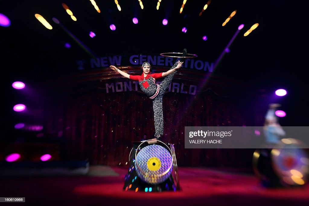 Circus act Duo Yalta performs during the second New Generation International Circus Festival in Monaco on February 3, 2013. The event runs from February 2 until February 3, 2013.