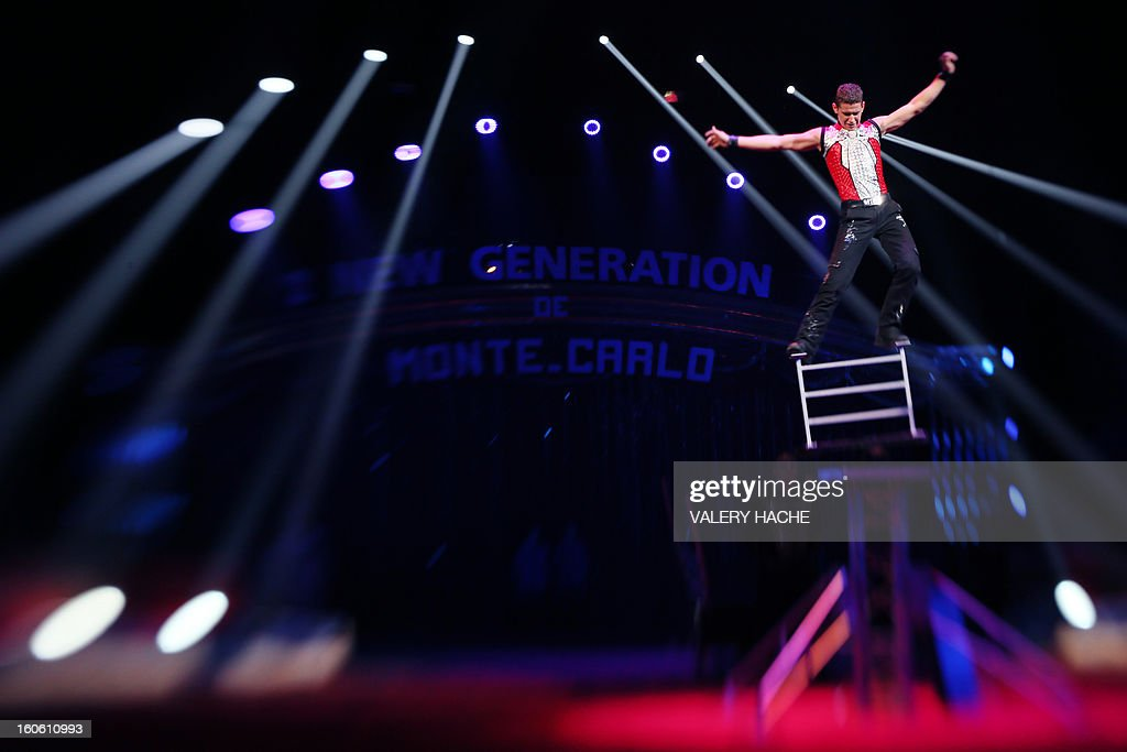 Circus artist Nyko Kenjys performs during the second 'New Generation' International Circus Festival in Monaco, on February 3, 2013. The event runs until February 3, 2013.