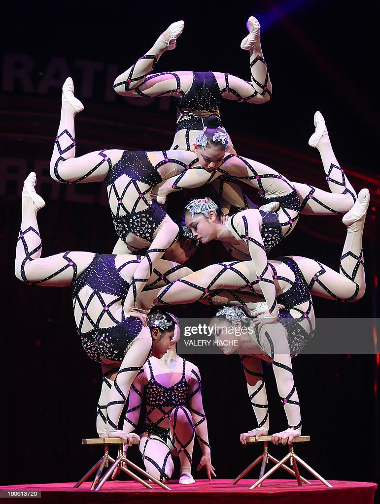 Circus artists Hebei perform during the second New Generation International Circus Festival in Monaco on February 3, 2013. The event runs from February 2 until February 3, 2013.