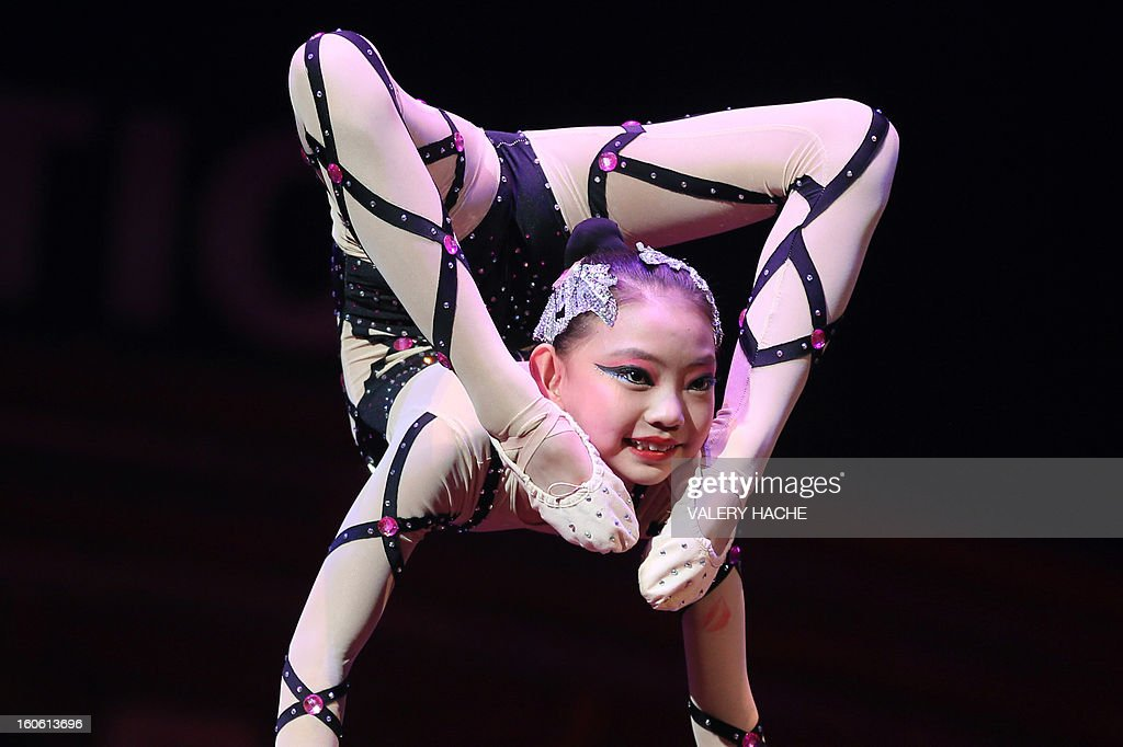 Circus artists 'Hebei' performs during the second 'New Generation' International Circus Festival in Monaco, on February 3, 2013. The event runs until February 3, 2013.