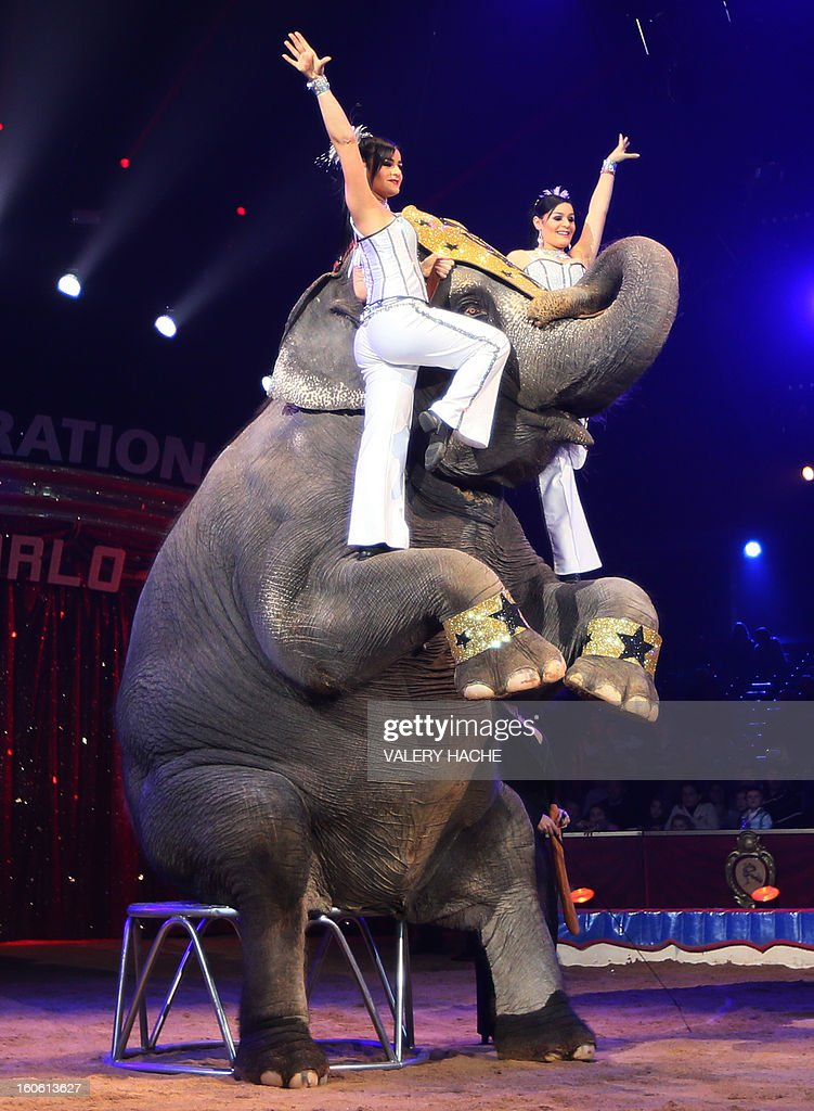 Circus artists Noelia and Natalia and the elephants Gran Circo Mundial perform the second New Generation International Circus Festival in Monaco on February 3, 2013. The event runs from February 2 until February 3, 2013.