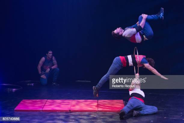 Circus company Flip FabriQue performs on stage 'Transit' during Assembly Gala Launch for Edinburgh Festival Fringe at Assembly Hall on August 2 2017...