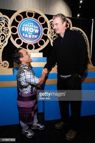 Circus performer Paulo dos Santos and actor Chris Noth attend Ringling Bros and Barnum Bailey presents 'Legends' at Barclays Center of Brooklyn on...