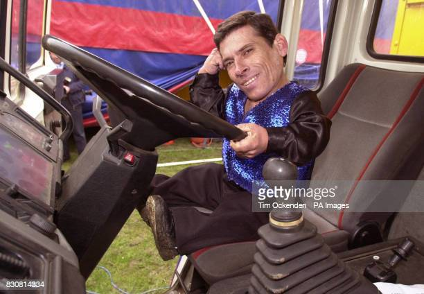 Circus performer Pitchu from Hungary seated at the wheel of a lorry Pitchu aged 39 stands 2ft 4inches tall and claims to be the world's smallest man...