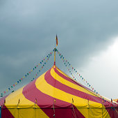 circus with colorful flags and pennants