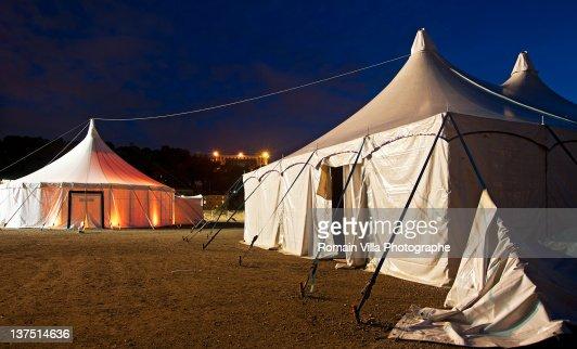Circus workshop with lit fire light : Bildbanksbilder