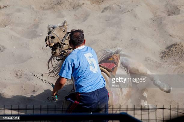 Cirit Player's Mann und seine hellbraunem Horse