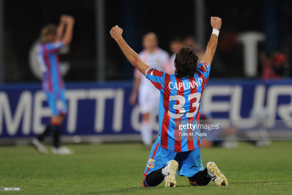 Ciro Capuano of Catania celebrates after winning the Serie A match between Catania Calcio and US Citta di Palermo at Stadio Angelo Massimino on April...