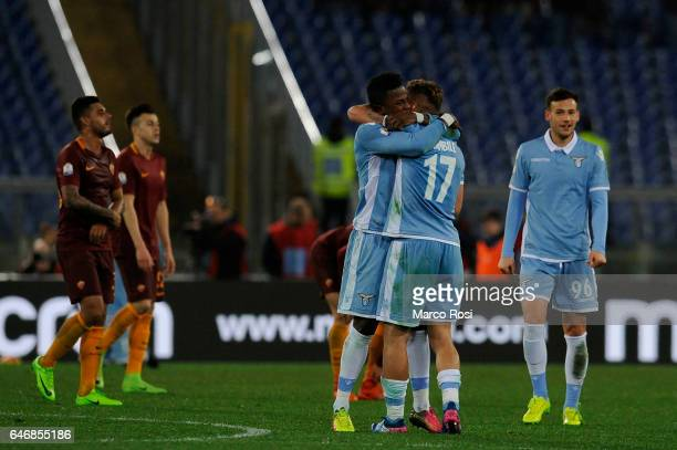 Ciro Immibile and Balde Diao Keita of SS Lazio celebrates a winner game after the TIM Cup match between SS Lazio and AS Roma at Olimpico Stadium on...