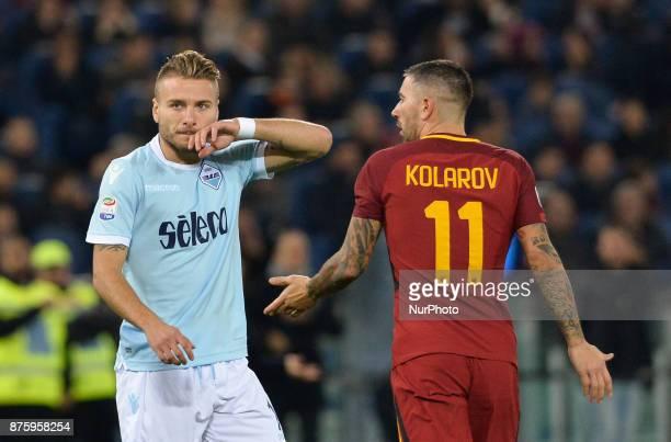 Ciro Immobile Aleksandar Kolarov during the Italian Serie A football match between AS Roma and SS Lazio at the Olympic Stadium in Rome on november 18...