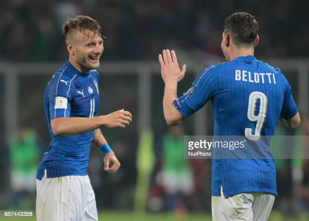 Ciro Immobile and Andrea Belotti during the match to qualify for the Football World Cup 2018 between Italia v Albania in Palermo on March 24 2017
