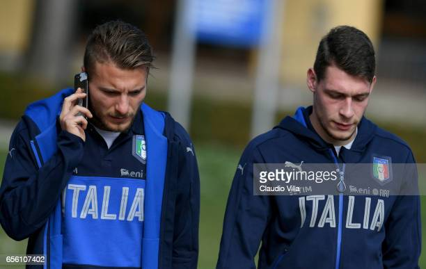 Ciro Immobile and Andrea Belotti of Italy look on during the training session at the club's training ground at Coverciano on March 21 2017 in...