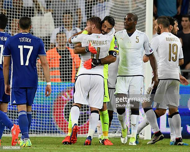 Ciro Immobile and Gianluigi Buffon of Italy celebrate at the end of the FIFA 2018 World Cup Qualifier between Israel and Italy at Itztadion Sammy...