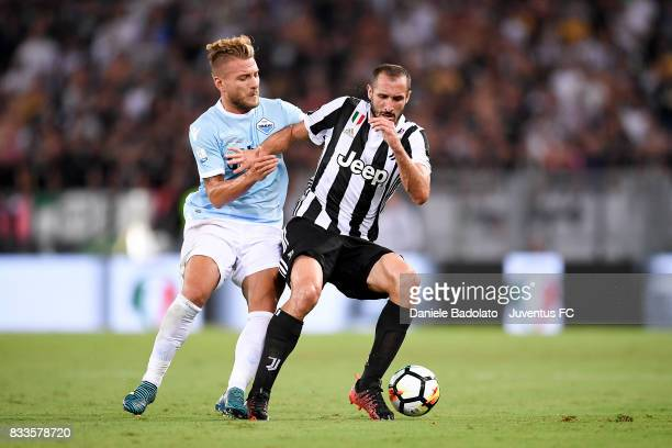 Ciro Immobile and Giorgio Chiellini during the Italian Supercup match between Juventus and SS Lazio at Stadio Olimpico on August 13 2017 in Rome Italy