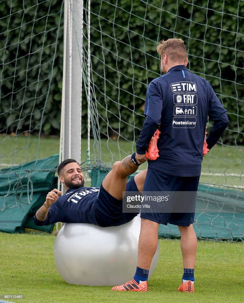 Ciro Immobile (R) and Lorenzo Insigne of Italy in action during a training session at Italy club's training ground at Coverciano on October 3, 2017 in Florence, Italy.