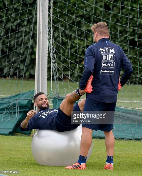 Ciro Immobile and Lorenzo Insigne of Italy in action during a training session at Italy club's training ground at Coverciano on October 3 2017 in...