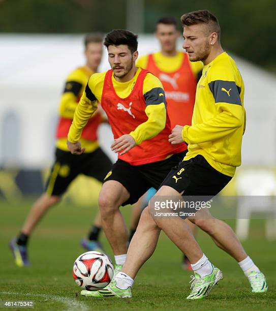 Ciro Immobile and Milos Jojic of Borussia Dortmund fight for the ball during the morning training session during day 4 of the Borussia Dortmund...