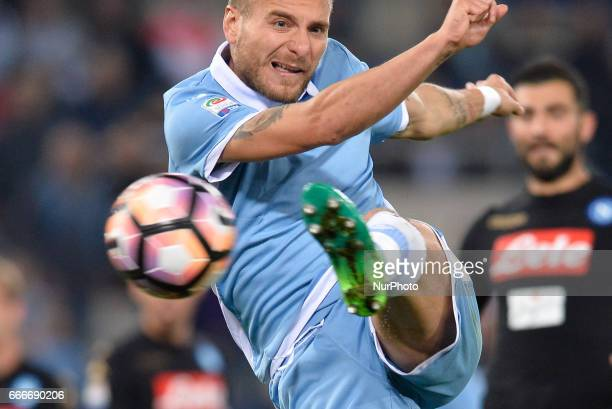 Ciro Immobile during the Italian Serie A football match between SS Lazio and AC Napoli at the Olympic Stadium in Rome on april 09 2017