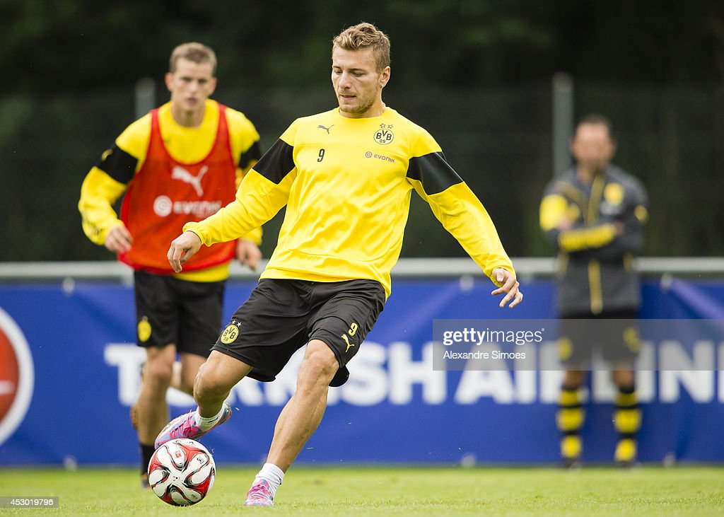 <a gi-track='captionPersonalityLinkClicked' href=/galleries/search?phrase=Ciro+Immobile&family=editorial&specificpeople=5820229 ng-click='$event.stopPropagation()'>Ciro Immobile</a> (BVB) of Borussia Dortmund during a training session on August 1, 2014 in Bad Ragaz, Switzerland.