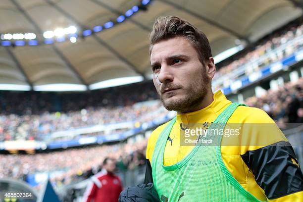 Ciro Immobile of Dortmund looks on prior to the First Bundesliga match between Hamburger SV and Borussia Dortmund at Imtech Arena on March 7 2015 in...