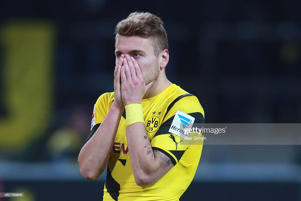 <a gi-track='captionPersonalityLinkClicked' href=/galleries/search?phrase=Ciro+Immobile&family=editorial&specificpeople=5820229 ng-click='$event.stopPropagation()'>Ciro Immobile</a> of Dortmund reacts after the Bundesliga match between Borussia Dortmund and FC Augsburg at Signal Iduna Park on February 4, 2015 in Dortmund, Germany.
