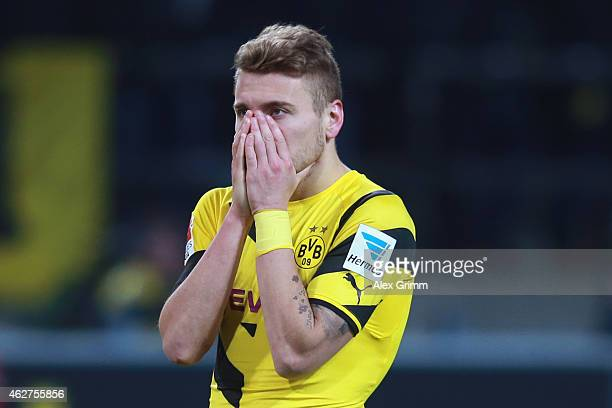 Ciro Immobile of Dortmund reacts after the Bundesliga match between Borussia Dortmund and FC Augsburg at Signal Iduna Park on February 4 2015 in...