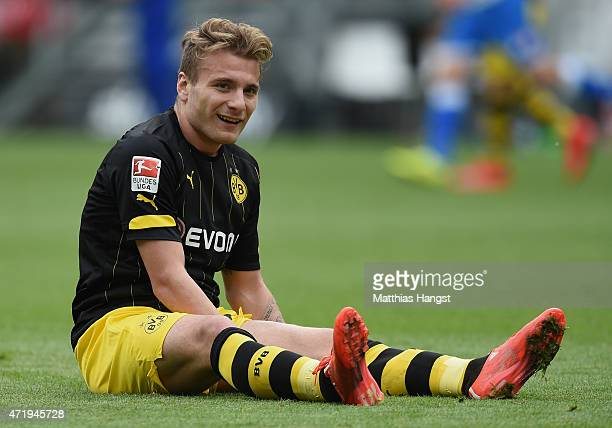 Ciro Immobile of Dortmund reacts during the Bundesliga match between 1899 Hoffenheim and Borussia Dortmund at Wirsol RheinNeckarArena on May 2 2015...