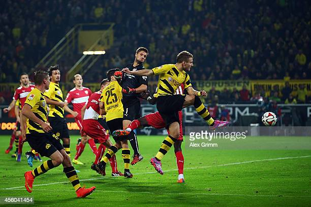 Ciro Immobile of Dortmund scores his team's second goal during the Bundesliga match between Borussia Dortmund and VfB Stuttgart at Signal Iduna Park...