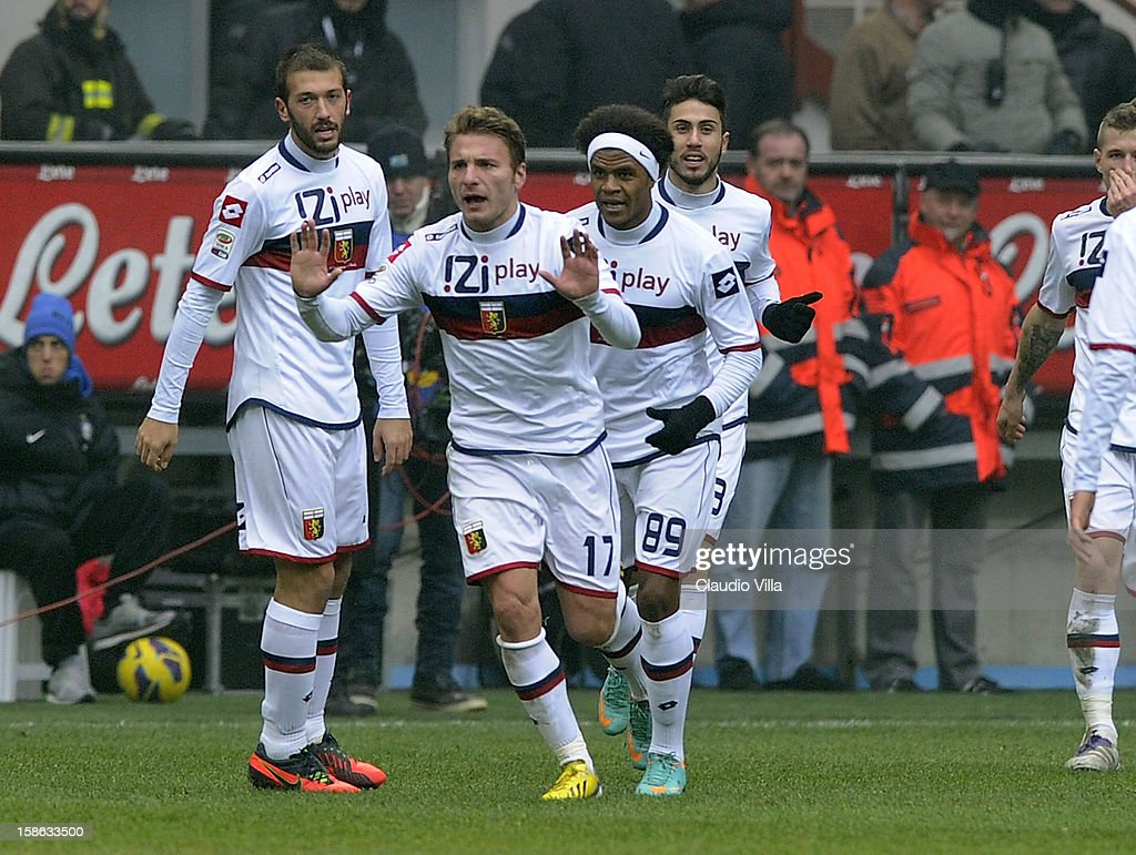 Ciro Immobile of Genoa CFC #17 celebrates scoring the first goal during the Serie A match between FC Internazionale Milano and Genoa CFC at San Siro Stadium on December 22, 2012 in Milan, Italy.