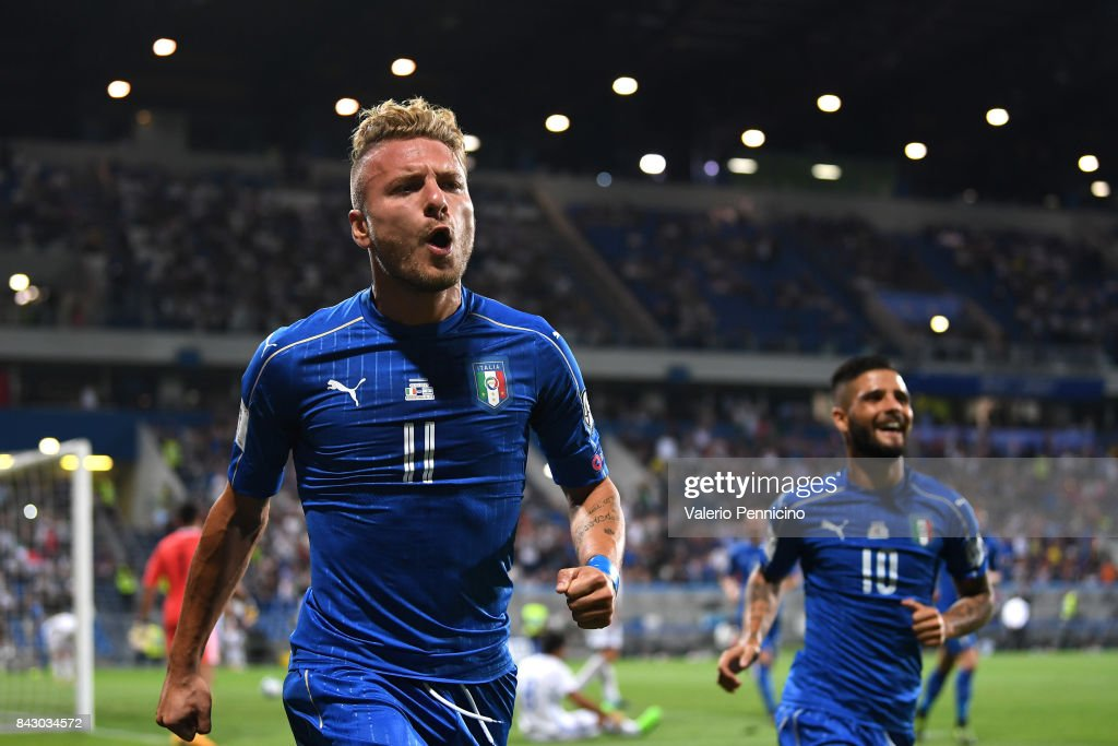 Ciro Immobile of Italy celebrates after scoring the opening goal during the FIFA 2018 World Cup Qualifier between Italy and Israel at Mapei Stadium - Citta' del Tricolore on September 5, 2017 in Reggio nell'Emilia, Italy.