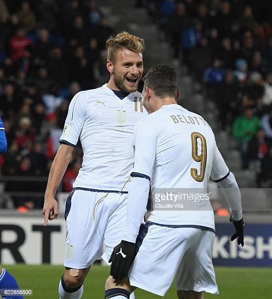 Ciro Immobile of Italy celebrates after scoring the second goal during the FIFA World Cup 2018 group G Qualifiers football match between...